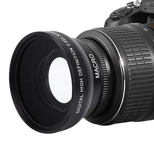 Dpofirs 49mm 0.45X Lente de Gran Angular para Cámaras, 62 mm Rosca Frontal para Filtro, Lente Óptico Universal de Alta Definición para Cámaras con Rosca de Lente de 49mm, Accesorios de Fotografía