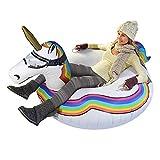 LTongx Tubo Unicornio Gigante de Nieve, esquí Inflable Unicornio Trineo Anillo de Hijos Adultos Anillo esquí frío Resistente al Desgaste