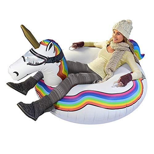 LTongx Unicorn Riesen Snow-Tube, Erwachsene Kinder aufblasbare Ski Einhorn Sleigh Ring Verschleißfest Kälte Ski Ring