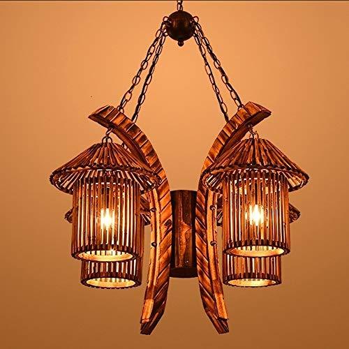 ZSAIMD Bambú Mimbre Ratán Sombra Túnel Lámpara de pared Accesorio Aplique rústico Luz Dormitorio Pasillo de noche 2 luces E27 Edison Lámpara de pared Luminaria Linterna de pared Decoración