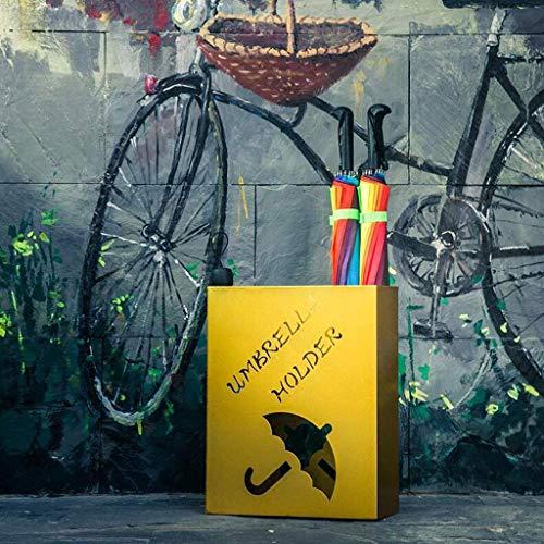 ZXL Paraplu Open Haard Stand Creatieve Europese Smeedijzer Opslag Stand Schaduw Huis Vloer Paraplu Enkel Opvouwbare Gele Stand 41 * 33 * 12cm Paraplu