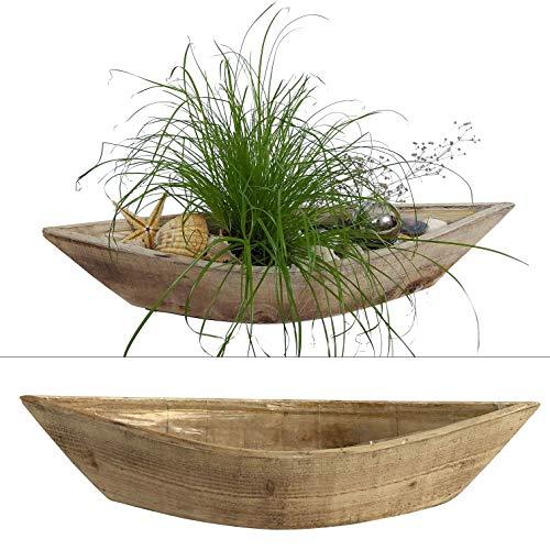 2 Boote zum Bepflanzen im Set - 55 cm lang - Blumentopf aus Holz im Maritim Stil, Blumenkasten (Natur)