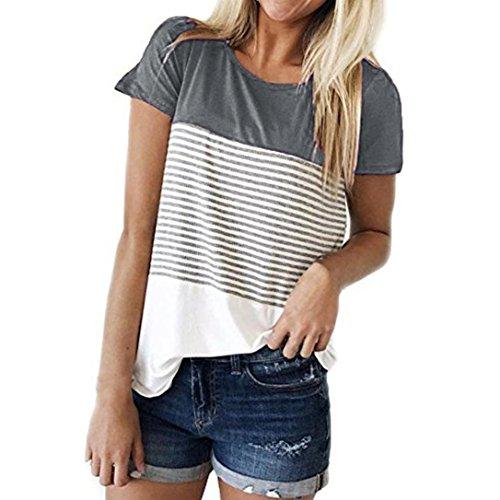 iHENGH Damen Kurzarm Rundhals Dreifarbiges Blockstreifen-T-Shirt mit Streifen Casual Blouse(XX-Large,Grau)