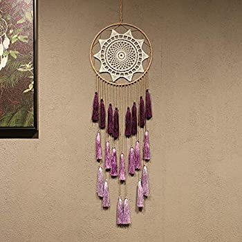 Artilady Macrame Dream Catchers for Bedroom - Tassel Wall Hanging Handmade Dreamcatchers Home Decor with Tassel Feather Ornament Craft Blessing Gift  Purple