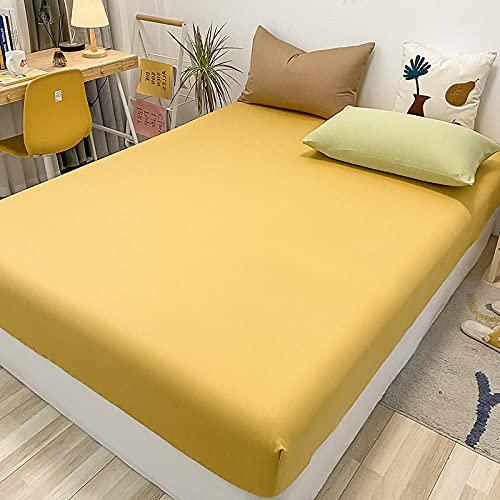 FJMLAY Sábanas ajustablesExtra Suave,Sábanas de algodón para Cama, Almohadillas Protectoras para dormitorios y Apartamentos-Yellow_120x200cm