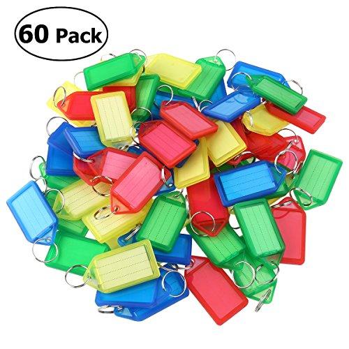 Preisvergleich Produktbild WINOMO Cleer Adheer Gepäck ID-Tag Mehrfarbige Kunststoff Schlüsselanhänger Gepäck ID Tags Etiketten mit Schlüsselanhänger 60pcs (zufällige Farbe)