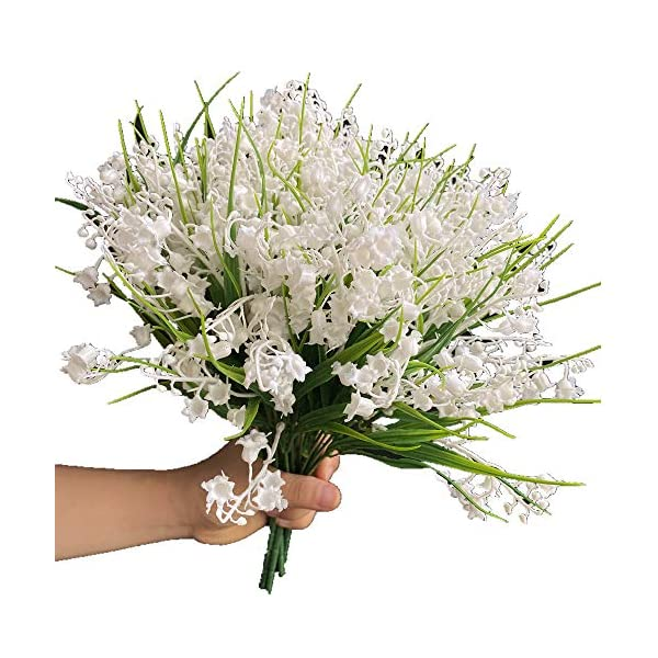 jiumengya 7pcs Plastic White Lily of The Valley Muguet de Mai Artificial Convallaria Majalis Flower for Wedding Bridal Bouquet 5 Branches/Bunch