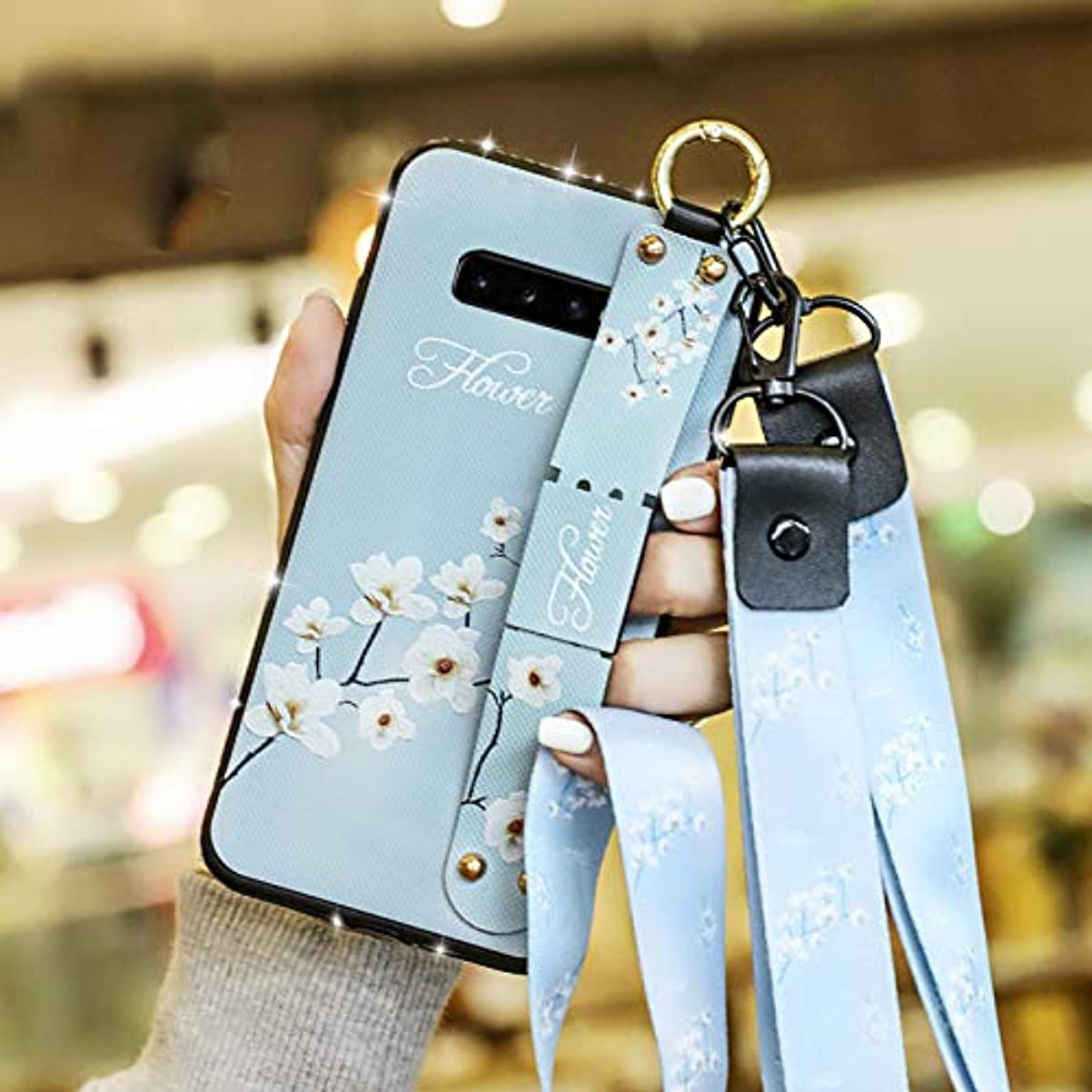 ほとんどの場合風景リアルSevenPanda Samsung Galaxy S9 + Plus ケース、PUレザー カラードローイング おしゃれ tpu ソフトフレーム ラインストーン ストラップ 携帯ケースケース、キャンバス布花フローラル戻るフレキシブルTPUフレーム保護する少女女性たちホルダーケース キックスタンド付き +取り外し可能なリトストラップ+ネックストラップまねる布目柄エンボス 薄型 人気 かわいい キラキラ 全面保護 、耐汚れ 滑り防止 反指紋 反塵 超軽量 カバー-マグノリア
