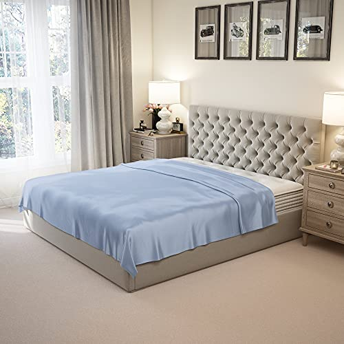 Mulberry Park 100% Pure King Silk Flat Sheet Deluxe 22 Momme 6A Mulberry Silk Bed Sheets - Breathable, Ultra-Soft, Oeko-TEX Certified - Steel Blue