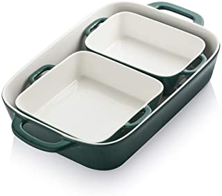 SWEEJAR Ceramic Bakeware Set, Rectangular Baking Dish for Cooking, Kitchen, Cake Dinner, Banquet and Daily Use, 12.8 x 8.9...