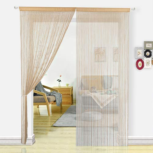 HSYLYM Door Curtains for Kitchen Window Curtains Room Divider Room Decor Fringe Thread Curtain for Living Room(100x200, Beige)