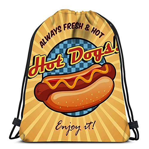 Drawstring Backpack Bags American Hot Dog Sandwich with Ketchup and Mustard Sport Storage Polyester...