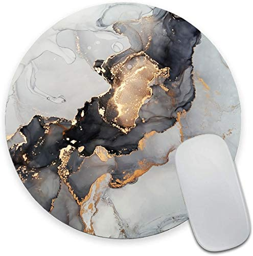 Black White Gold Marble Round Mouse Pad,Beautiful Mouse Mat, Cute Mouse Pad with Design, Non-Slip Rubber Base Mousepad, Waterproof Office Mouse Pad, Small Size 7.9 x 0.12 Inch
