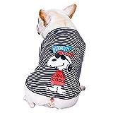 COLOGO犬服 tシャツ スヌーピー かわいい ドッグウェア 春夏秋 通気性 中型犬 柴犬 ボーダー ファッション コスチューム お散歩お出かけ服(ブラック、XL)