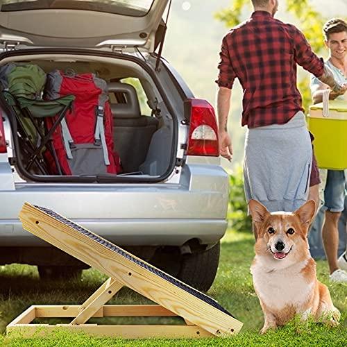Kacsoo Hunderampe für Auto oder Bett Sofa Rampe, Klappbar Hundetreppe aus Echtholz, Hundeautorampe mit Antirutschauflage, Höhenverstellbare Hunderampe für Auto, Bett, Sofa und SUV