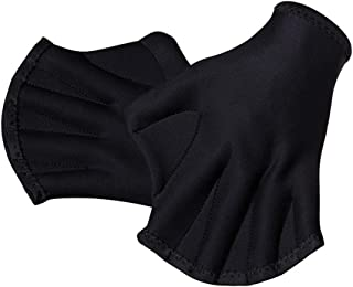 MansWill 1 Pair Aquatic Swimming Gloves, Frog Webbed Fitness Water Resistance Training Gloves/Neoprene Full Finger Gloves for Pool Playing Diving - Free Size