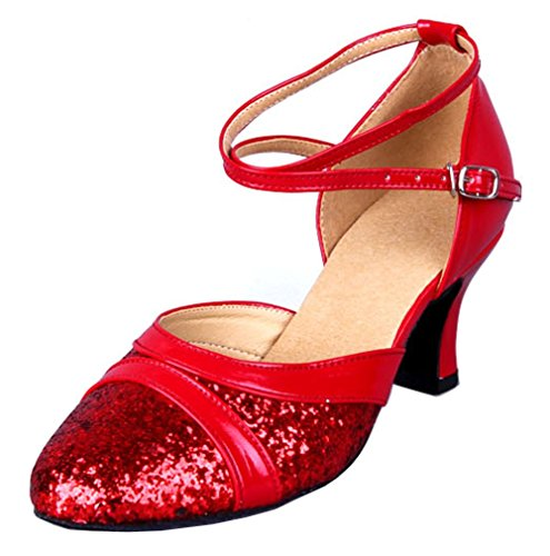 Honeystore Damen's Pailletten Runde Toe Latein Tanzschuhe Rot 5.5 UK