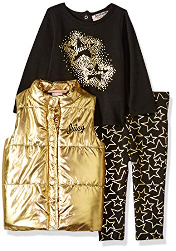Juicy Couture Baby Girls 3 Pieces Puff Vest Set, Gold/Black, 3-6 Months