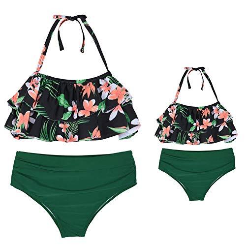 Firpearl Women's Halter Bikini Swimwear Flounce Two Piece Swimsuits Flowy Bathing Suit Green Leaf-2 Small/Adult