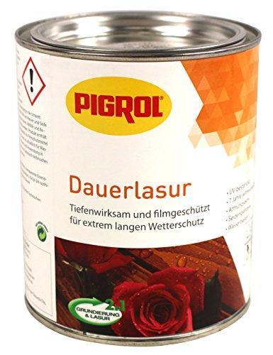 Pigrol Dauerlasur 0,75L mahagoni 2in1 Wetterschutzlasur für alle Hölzer im Außenbereich