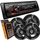 Pioneer Single DIN Bluetooth Digital Media Receiver with Short Chassis, Supports Amazon Alexa & Spotify + 2 Pairs of 6.5' Car Speakers (4 Speakers)
