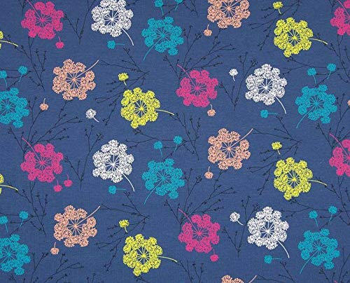 Qualitativ hochwertiger Jersey Stoff mit bunten Pusteblumen auf Blau als Meterware zum Nähen von Baby, Kinder und Erwachsenenkleidung, 50 cm