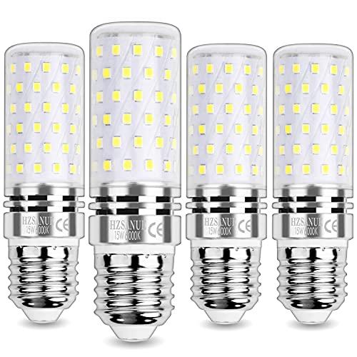 HZSANUE Bombillas Maíz LED 15W, E27 Tornillo Edison Bombilla, 6000K Blanco Frío, 1500LM, Bombillas Incandescentes de 120W Equivalentes, No Regulable, Paquete de 4