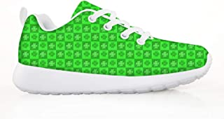 Patricks Day Shamrock Clover Chessboard Boys Girls Casual Lace-up Sneakers Running Shoes St
