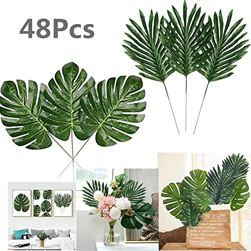 Kalolary 24pc D/écorations de f/ête artificielles pour Palmiers tropicaux artificiels 13.8 sur 11.4 Pouces Grande Taille Faux Feuilles de Palmier pour Hawaiian Luau Safari Jungle Beach