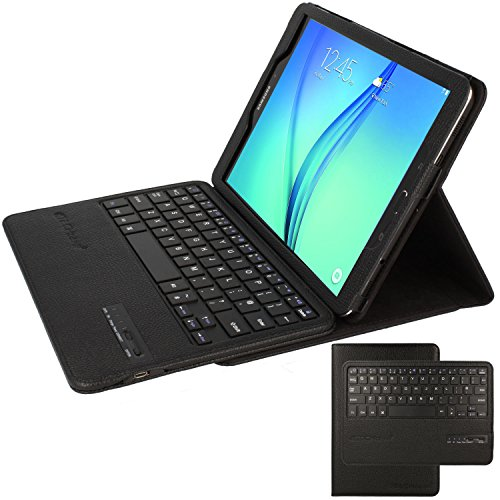TECHGEAR STRIKE FOLIO Case fits Samsung Galaxy Tab S3 9.7 Inch (SM-T820 Series) - PU Leather Case with Built in Detachable Bluetooth Wireless UK QWERTY Keyboard and Stand (Black)