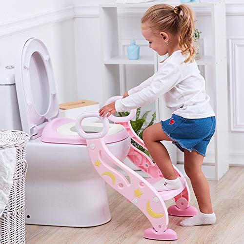 Vinteky Aseo Escalera Asiento Escalera del Tocador de Niños, Reductor WC Niños con Escalera con Escalón Plegable y Altura Ajustable (Rosa)
