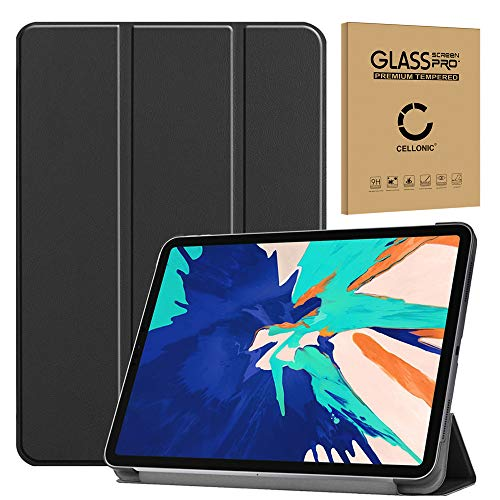 subtel® Tasche + Panzerglas kompatibel mit Apple iPad 12,9 (2020) - A2229, A2233 Kunstleder Schutzhülle Tasche Flip Cover Hülle Etui schwarz