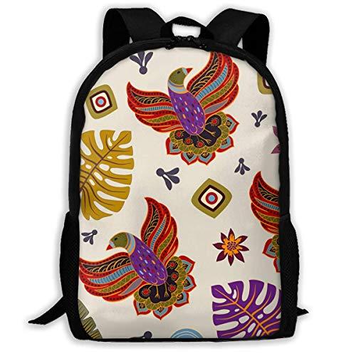 Schulrucksack Buntes Muster Mit Dekorativen Vögeln Rucksack wasserdichte Schultaschen Durable Travel Camping Rucksäcke für Jungen und Mädchen