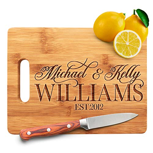 Personalized Cutting Board - 9 Designs 87 x 115 Bamboo Cutting Board - Wedding Gifts for the Couple Housewarming Gifts Anniversary Gift Grandma Gifts Engraved Kitchen Sign Decor  Handle