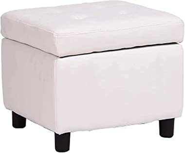 Footstools & Ottomans Faux Leather Storage Stool/Padded Foot Stool,Cube Bench Seater for Living Room,Bedroom Office,4 Woo