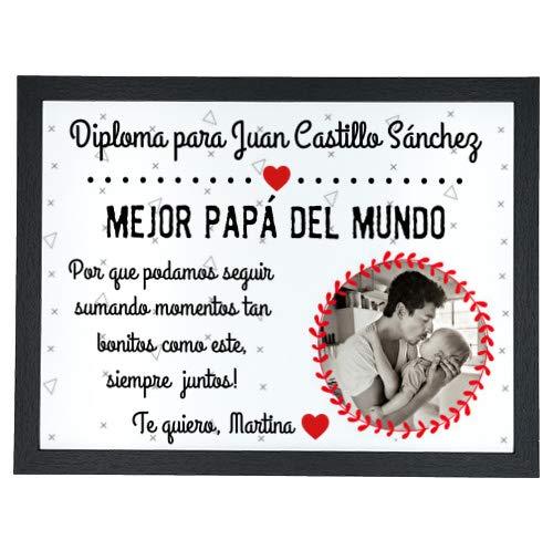NANNUK - Diploma Personalizado con Foto día del Padre Mejor papá del Mundo
