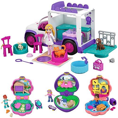 Polly Pocket Core Paquete De Mascotas De Vacaciones Set de Juego para niñas de 4 años en adelante