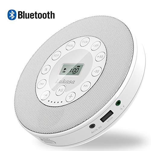 Lukasa Portable CD Player,Bluetooth Personal Walkman MP3 Players 2000mAh Rechargeable Compact Disc CD Music Player USB Play Built-in Stereo Speaker Anti-Shock Protection (White)