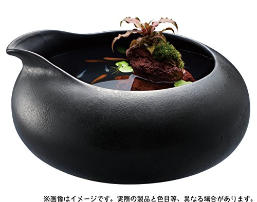ジェックス『和の鴨口陶器鉢 墨黒』