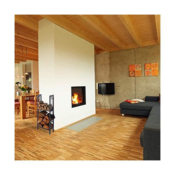 Relaxdays, Antracita, 100 x 40 x 30 cm leñero Interior con 2 estantes y 4 colgadores para Accesorios Chimenea, Acero