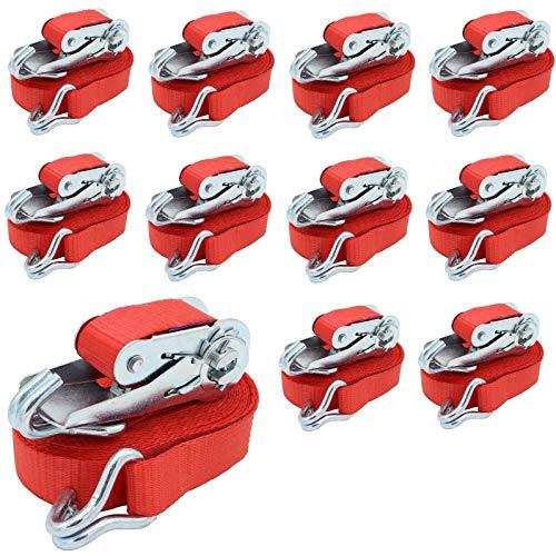10 x Profi Spanngurte 800kg 25mm 6 Meter 0,8t zweiteilig Ratschengurt Zurrgurt DIN EN 12195-2 Rot