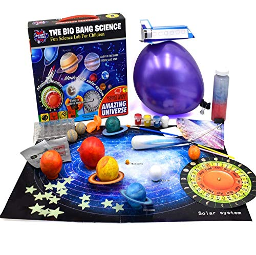 Jigamix Outer Space Science Kit for Kids 6 & Up Learn About Solar System - Planets- Moon Calendar - Measure Latitude - Constellations - Meteors 7 Different Activities Include 3D Solar System Poster
