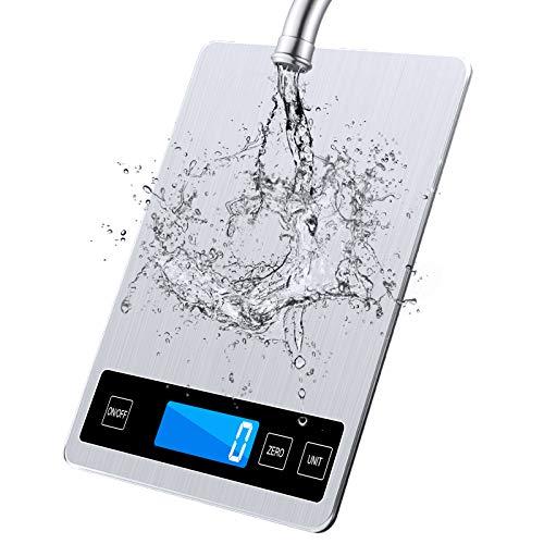 Raniaco Küchenwaage Digital Waage Küchen - Digitalwaage bis zu 15 kg nd wunderbare Präzision auf bis zu 1g | g/kg/lb:oz/ml/fl\'oz | USB- Oder Akkubetrieb | Haushaltswaage