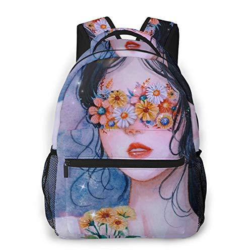 NiYoung Big Capacity Rucksacks, Cute Gothic Girl Trippy Women Art Anti-Theft Multipurpose Shoulder Bag with Adjustable Shoulder Straps, School Daypack Backpack, Travel and Sport Backpack Rucksack