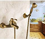 Antique Brass Wall Mounted Bathroom Single Handle Bathtub Faucet Tap Hand Held Shower Set with Wall Bracket &1.5M Hose