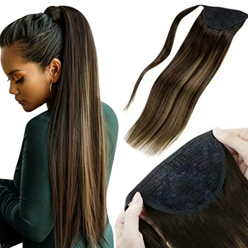 LaaVoo Ponytail Hair Extensions Human Hair 20' Long Ponytail Real Hair Piece Balayage Dark Brown Fading to Light Brown Mixed Brown Clip in Pony Tails Human Hair Extensions Wrap Around 100g/set