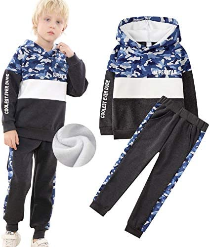 Boys 2 Piece Set Fleece Hoodie Sweatshirt and Pants Winter Warm School Outfits Camouflage Dinosaur product image