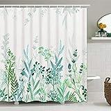 Likiyol Duschvorhang mit Wasserfarben-Blumenmuster, blau & grün, blaugrün & weiß, Duschvorhang, rustikaler Blumen-Duschvorhang mit 12 Haken, wasserdichter Stoff-Duschvorhang für Badezimmer