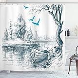 ABAKUHAUS Landschaft Duschvorhang, Boot auf Dem Fluss Zeichnung, Seife Bakterie Schimmel & Wasser Resistent inkl. 12 Haken & Farbfest, 175 x 200 cm, Weiß Grau-Blau