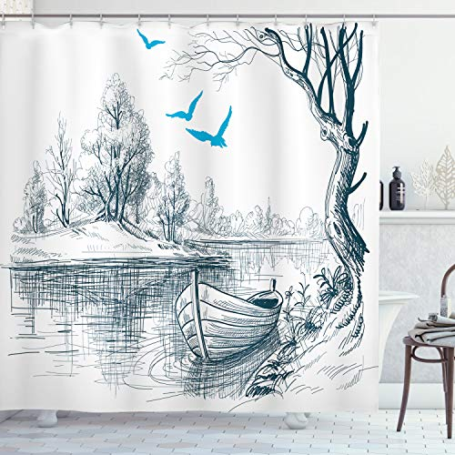 ABAKUHAUS Landschaft Duschvorhang, Boot auf Dem Fluss Zeichnung, Seife Bakterie Schimmel & Wasser Resistent inkl. 12 Haken & Farbfest, 175 x 240 cm, Weiß Grau-Blau
